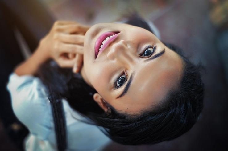 Eyes Lips Girl Close-up Smile Face Pose Hair