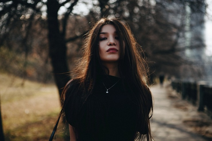 Long Hair Lips Girl Portrait In The Black Person