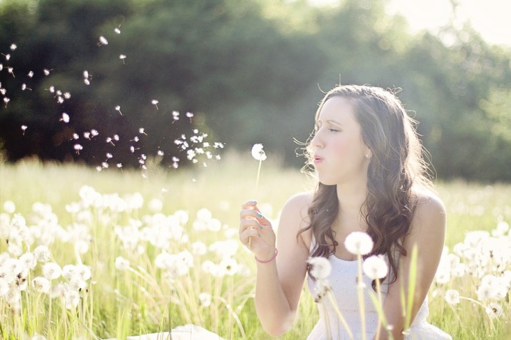 Woman Summer Dandelions Freedom Blowing Wind